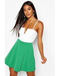 Boohoo Basic Fit And Flare Skater Skirt - Green