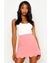 79d8b52a0 TOPSHOP Petite Striped Scallop Hem Mini Skirt in Gray - Lyst