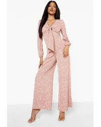 Boohoo Floral Tie Bust Wide Leg Jumpsuit - Pink
