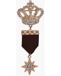 Boohoo Emma Crown & Star Military Pin Badge - Black
