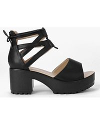 Boohoo Lace Up Two Part Cleated Sandals - Black