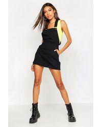 Boohoo Denim Overall Pinafore Dress - Black