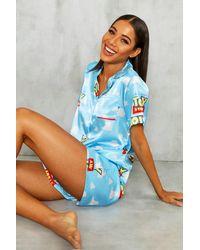 Boohoo Conjunto De Pantalones Cortos De Pijama De Satén Toy Story De Disney - Azul
