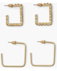 Boohoo Square Stud Smooth And Diamante Hoops - Metallizzato