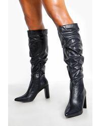 Boohoo Block Heel Rouched Knee Boots - Black