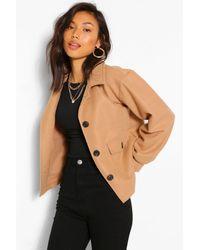 Boohoo Cropped Wool Look Jacket - Natural