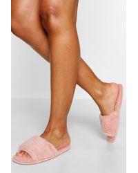Boohoo Fluffy Slider Slippers - Pink