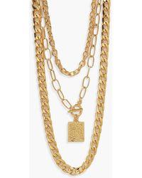 Boohoo Triple 3 Chunky Chains Necklace - Metallic