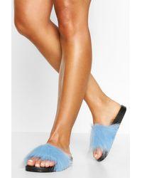 Boohoo Faux Fur Pool Slider - Blue