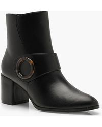 Boohoo - Wide Fit Tortoise Shell Trim Shoe Boots - Lyst