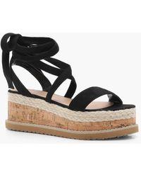 Boohoo - Flatform Espadrille Tie Up Sandals - Lyst