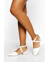 Boohoo Croc Pointed Toe Cross Strap Ballet Pumps - Bianco