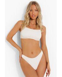 Boohoo Crinkle Fuller Bust Square Neck Bikini Top - Multicolour