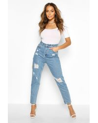 Boohoo Sophie High Waisted Distressed Mom Jeans - Blue