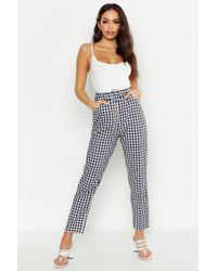 Boohoo Womens Gingham Flannel Button Front Trousers - Black - 2