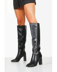 Boohoo Block Heel Knee Boots - Black