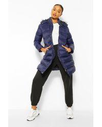 Boohoo Longline Padded Faux Fur Hooded Jacket - Multicolour