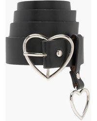 Boohoo Heart Buckle And Charm Detail Belt - Black