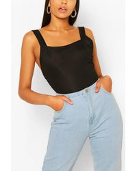 Boohoo Tall Basic Rib Square Neck Low Back One Piece - Black