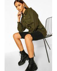 Boohoo Womens Khaki Utility Jean Jacket - Green