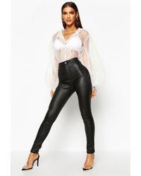 Boohoo High Waist Matte Leather Look Skinny Trouser - Black