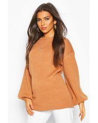 Boohoo Balloon Sleeve Knitted Sweater - Orange