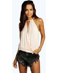Boohoo | Isabelle Wrap Front High Neck Drawstring Cami | Lyst