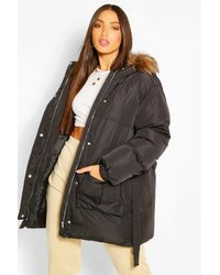 Boohoo Tall Faux Fur Belted Padded Coat - Black
