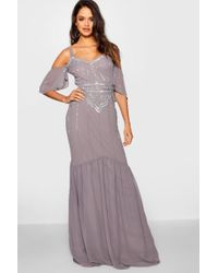Boohoo - Tall Boutique Embellished Maxi Dress - Lyst