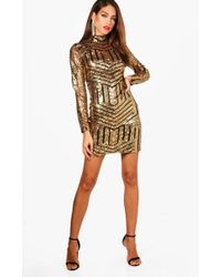 af648650 Boohoo - Tall Ava High Neck All Over Patterned Sequin Dress - Lyst