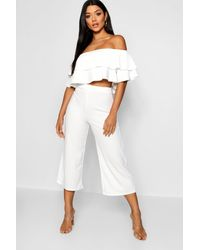 Boohoo Double Tube Top And Culotte Two-piece Set - White
