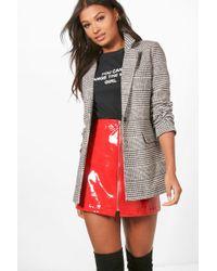 Boohoo Womens Flannel Wool Look Blazer Coat - Black - 4