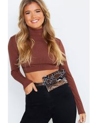 Boohoo All Over Snake Flap Belt Bag - Brown