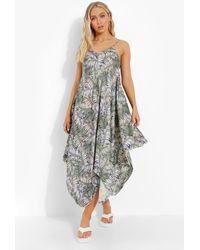 Boohoo Palm Print Asymmetric Hem Smock Dress - Verde