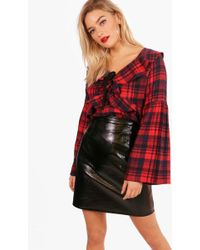 Boohoo - Claudia Checked Ruffle Front Blouse - Lyst