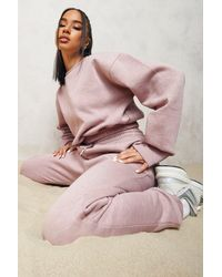 Boohoo Overdyed Official Cropped Jumper Tracksuit - Pink