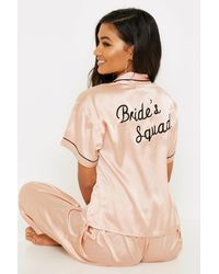 Boohoo Womens Rose Gold Brides Squad Embroidered Pjs - Pink