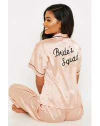 Boohoo Rose Gold Brides Squad Embroidered Pjs - Pink