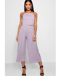 Boohoo Rose Strappy Crop & Culotte Co-ord Set - Purple