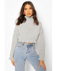 Boohoo Womens Ruffle Cropped Knitted Jumper - silver grey - M/L, Silver Grey - Grau