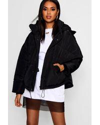 Boohoo Oversized Hooded Puffer Jacket - Black