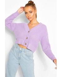 Boohoo Chunky Knit Cropped Cardigan - Purple