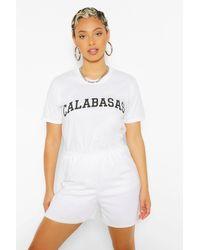 """Boohoo Camiseta Extragrande Con Eslogan """"Calabasas"""" - Blanco"""