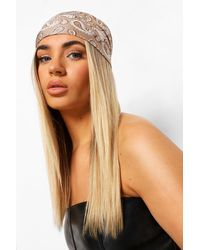 Boohoo Tonal Bandana Print Satin Headscarf - White