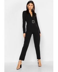 Boohoo - Woven Blazer Diamante Buckle Belted Jumpsuit - Lyst