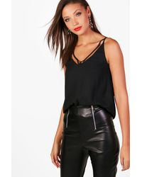 Boohoo - Womens Tall Strappy Woven Cami - Black - 4 - Lyst