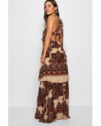 Boohoo - Petite Lace Up Back Tiered Printed Maxi Dress - Lyst
