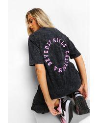 Boohoo Acid Wash Slogan Back Print T Shirt - Grigio