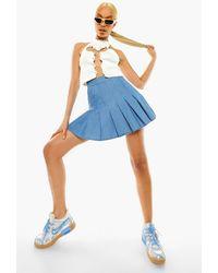 Boohoo Pleated Denim Tennis Skirt - Blue