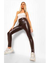 Boohoo Premium Sculpting Leather Look Pants - Brown
